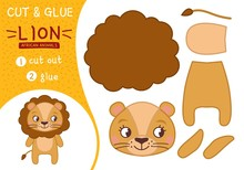 Education Paper Game For Preshool Children. Vector Illustration. Collection Of African Animals. Illustration Of A Cute Cartoon Lion