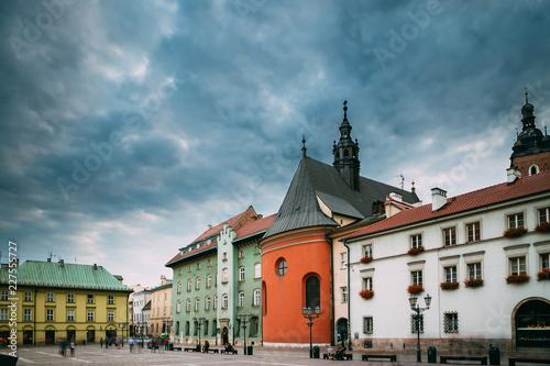 Fototapeta Krakow, Poland. Church Of St. Barbara On Small Market Square In  obraz