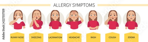 Fotografia, Obraz Allergy symptoms - lacrimation, sneezing, cough, runny nose, headache, rash, swe