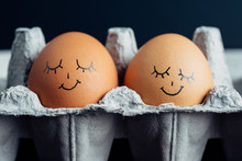 Pair Of Napping Eggs In A Carton