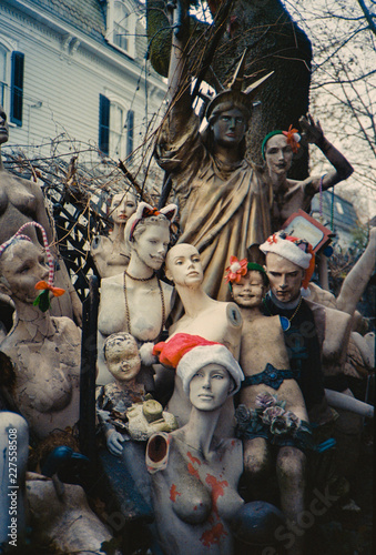 Odd grouping of old mannequins