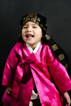 Happy Kid In Hanbok