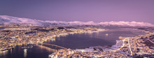 Aerial View Of Tromso At Sunset