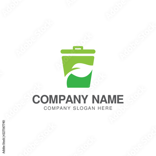 Fototapety, obrazy: Green trash can logo or icon design template