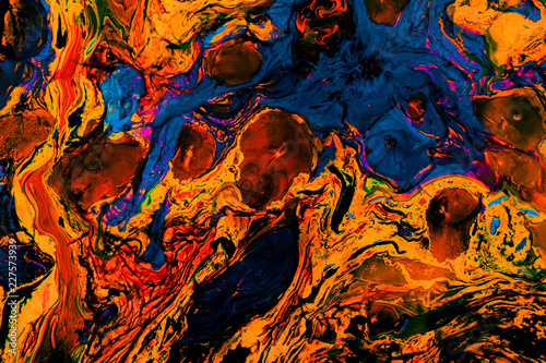 Stickers pour porte Orange eclat Abstract marbling art patterns as colorful background
