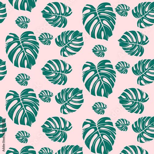 Beach Seamless Pattern Wallpaper Of Tropical Dark Green Leaves Of