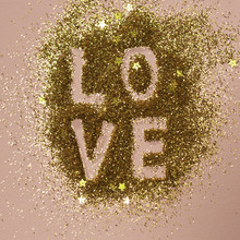 The Word LOVE On Glitter