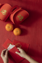Preparing Hongbao (red Envelope)
