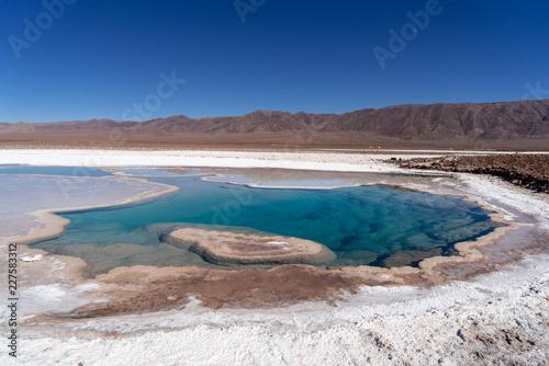 Fotobehang Canarische Eilanden lagunas de baltinache - lake surrounded by salt in the middle of the atacama desert