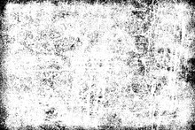 Texture Of Scratches, Cracks, Dust, Chips, Scuffs. Abstract Monochrome Grunge Background. Vintage Black And White Surface. Vector Dark Dirty Pattern