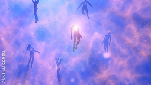 Photo  People floating, rising into space , heavens