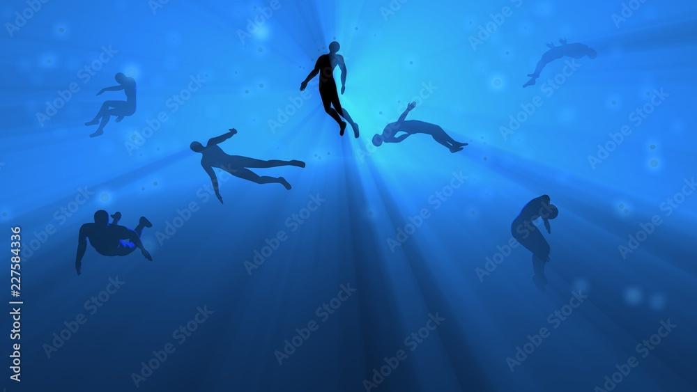 Fototapety, obrazy: People floating in blue fog, water, mist. Astral plane. Silhouette. 3d rendering