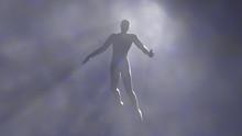 Man Floating In Fog, Mist.Silhouette, Shadow Figure. 3d Rendering