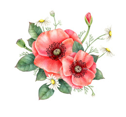 Panel Szklany Maki Watercolor bouquet of red poppy, chamomile and greenery isolated on white background. Hand painted illustration. Floral design element.