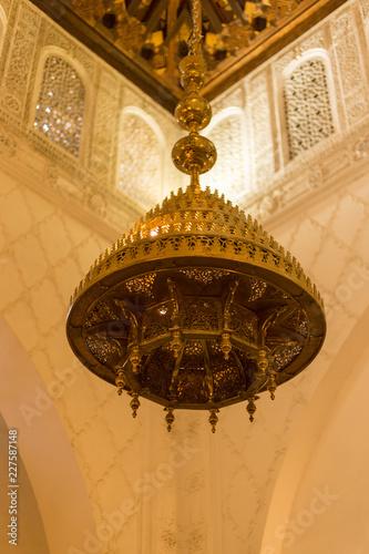 Chandelier inside of beautiful arabic palace