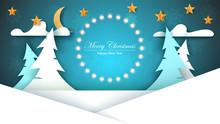 Cartoon Paper New Year. Merry Christmas. Vector Eps 10