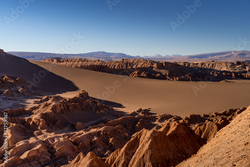 atacama desert, valle de marte, sand and sun landscape that look like mars