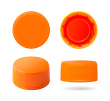 Plastic Bottle Cap Isolated On White Background. Group Of Beverage Lid For Your Design. Clipping Paths Object.