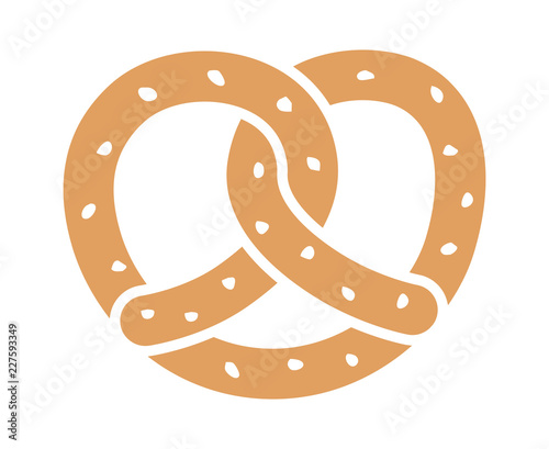 Photo Soft pretzel twisted knot bread flat color vector icon for apps and websites