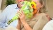 Senior Lady with Birthday Flowers