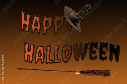 Happy Halloween, magic spell and flying broomstick concept with text