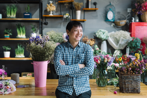 Portrait of floral shop owner in the flower shop