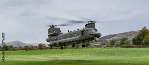 Wide angle image of an Royal Air Force CH-47-HC.6A Chinook helicopter as it returns to base after a bird strike during low level flying in the Peak District on 11 October 2018.