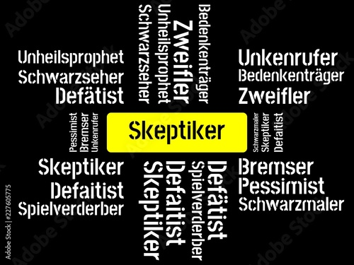 Das Wort - Skeptiker - abgebildet in einer Wortwolke mit zusammenhängenden Wörte Wallpaper Mural