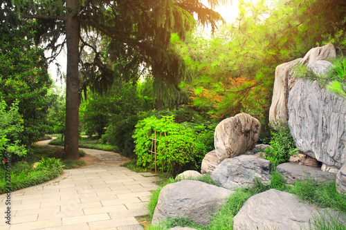 Ornamental garden next to Giant Wild Goose Pagoda, Xian, China