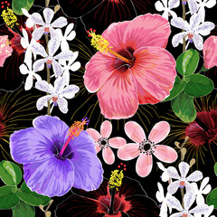 Fototapeta Optyczne powiększenie Seamless pattern pink color Hibiscus and white Orchid flowers and leaves on black background.Vector illustration hand drawing.