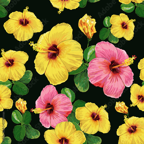 Seamless Pattern Yellow Color Hibiscus Flowers And Leaves On