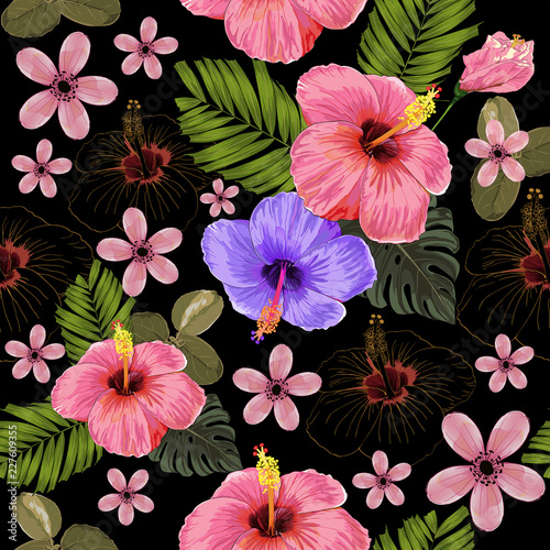 Seamless Pattern Pink Color Hibiscus Flowers And Monstera Leaves On Black Background Vector Illustration Hand Drawing Buy This Stock Vector And Explore Similar Vectors At Adobe Stock Adobe Stock