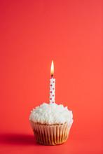 Polka Dots Candle On A Birthday Cupcake