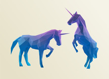 Gradient Unicorn Isolated Vector Illustration Set 3D Low Poly Rendering