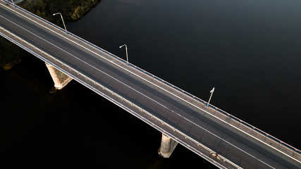 bridge over the river with a quadcopter