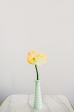 Yellow Poppy In A Green Milk Glass Vase On A Marble Top Table