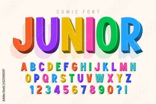 Fotografía Trendy 3d comical font design, colorful alphabet, typeface