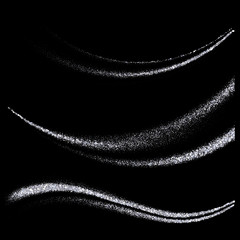 Vector Set of abstract waves.Silver particles glitter on black background.