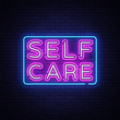 Self Care neon sign vector. Motivational Feel Good Design template neon sign, light banner, neon signboard, nightly bright advertising, light inscription. Vector illustration