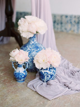 Blue Porcelain Jars With Peony Flowers