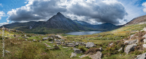 Fotografie, Obraz  Stunning panoramic landscape image of countryside around Llyn Ogwen in Snowdonia