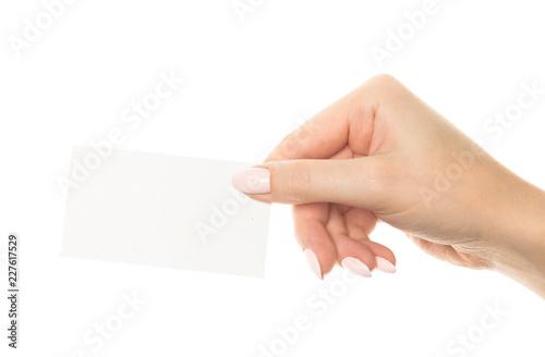 hand holding blank card #227617529