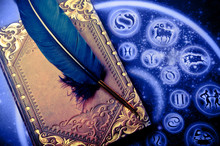 Horoscope With Zodiac Signs And Magic Book And Feather Like Astrology Magic Mystical Concept