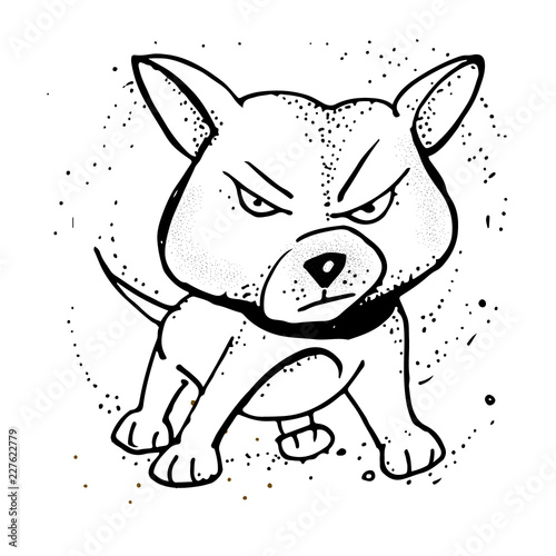 Vector illustration with Angry puppy  Emoji Cartoon  Poster, t-shirt
