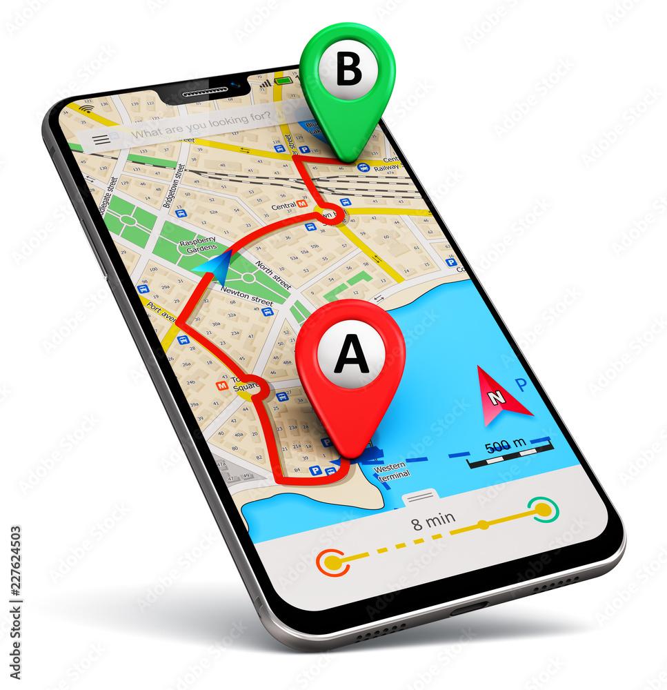 Fototapeta Smartphone with GPS map navigation app