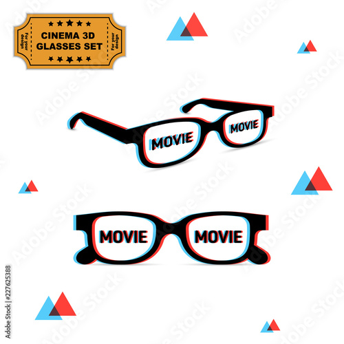 Valokuvatapetti Set of two 3d glasses with chromatic aberration and movie word on lens, illustration for graphic design