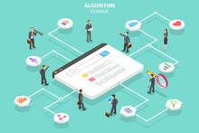 Isometric Flat Vector Concept Of Algorithm Change, Search Engine Optimization, Seo, Digital Marketing.