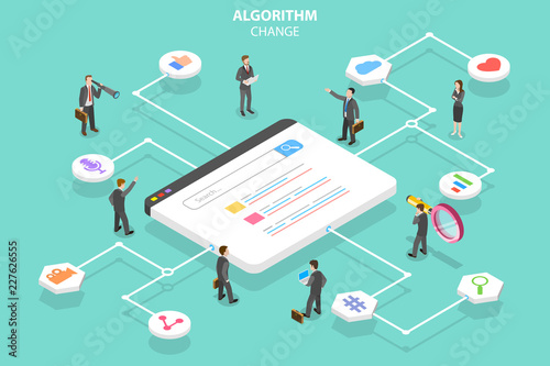 Photo Isometric flat vector concept of algorithm change, search engine optimization, seo, digital marketing