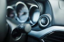 Close Up Start Stop Engine Modern New Car Button