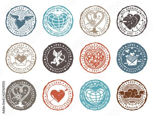 Obraz na plátně Set of rubber stamps with love signs. Vector graphics set.